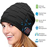 Bluetooth Beanie Hat, Smart Wireless Music Beanie for Men and Women, Cashmere Warm Ski Music Hat Knit Gift Cap with Earphones for Winter Cycling Running Skating Hiking (Black)