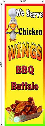 (Chicken Wings Vertical FAIR Party Banner Various Sizes Vinyl Banners (2' x 6'))