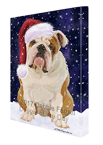Let it Snow Christmas Holiday English Bulldog Dog Wearing Santa Hat Canvas Wall Art D228 (30x40) by Doggie of the Day