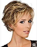 YIMANEILI Curly Wigs for White Women - Short Curly Hair Wigs with Bangs Heat Resistant Synthetic Hair Fashion Wigs with a Free Wig Cap (brown3)