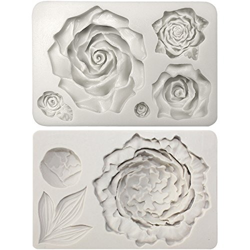 Funshowcase Large Rose and Peony Flower Fondant Silicone Molds 2 in Set for Sugarcraft, Cake Decoration, Cupcake Topper, Jewelry Resin Casting, Polymer Clay, Soap Making (Roses Peony)