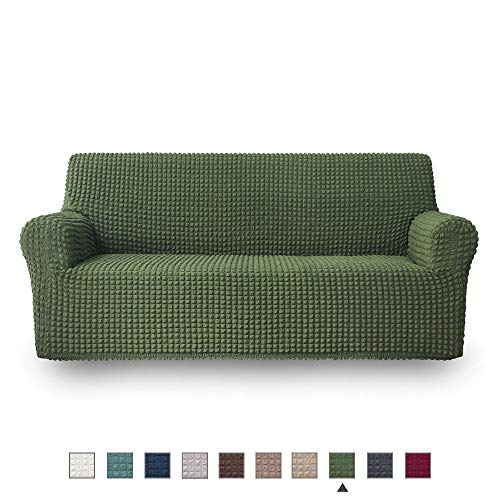 NICEEC Sofa Slipcover Green Sofa Full Cover 1 Piece Easy Fitted Sofa Couch Cover Universal High Stretch Durable Furniture Protector Country Style (3 Seater Olive) (Leather Sofa Olive Green)