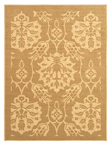 Gold Rectangular Rug - 5-feet X 7-feet Non-Skid Rubber Backed Area Rug | BEIGE - GOLD FLORAL Modern Rectangle Rugs 5X7