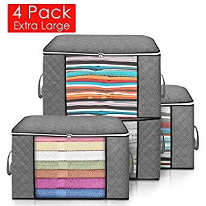 king do way Foldable Storage Bag Organizers with Zips,Carry Handles&Clear Window Large Capacity Clothes Storage Anti-Mold Moistureproof Closet Storage Boxes for Comforters,Blankets,Bedding,4 Pack,Grey