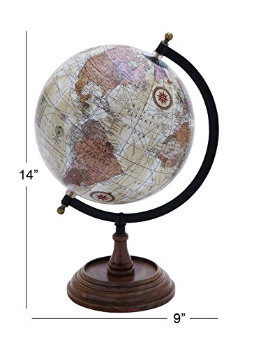 Deco 79 Traditional Wood, Metal, and Plastic Decorative Globe, 14''H,9''W, Multicolored Finish