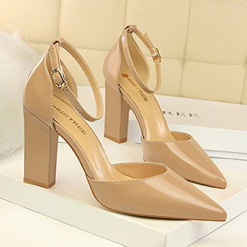 hebillas zapatos espesor XiaoGao hebillas y De laca color Sharp desnuda 10 altos superficial Desnuda pvpqIwZx