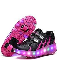 UBELLA Kids Girls Boys LED Light Up Shoes Double Wheels Roller Skate Sneakers