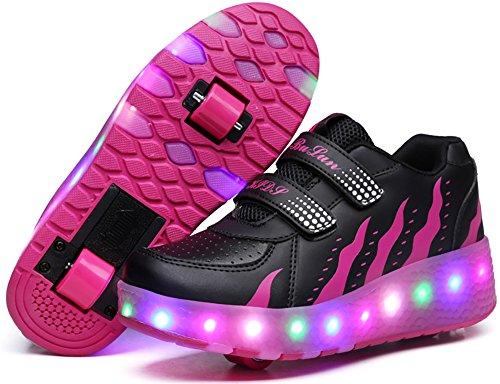 UBELLA Kids Girls Boys LED Light Strap Closure Double Wheels Roller Skate Sneakers Black/Red