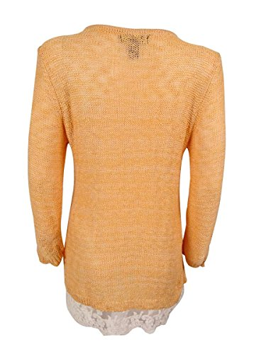 Style & Co. Womens Plus Lace Trim Long Sleeves Tunic Sweater Orange 2X