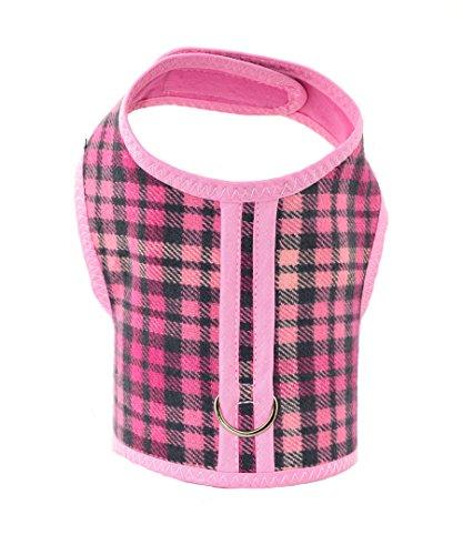 Pink Plaid Bushed Cotton Dog Cat Vest Harness
