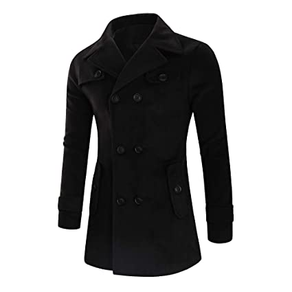 b4599828481dc ODJOY-FAN-Maschio Sezione Media e Lunga vestibilità Slim Cappotto Peloso  Giacca a Vento Cappotto da Uomo Trench Long Outwear Overcoat Coats Giacche  Cappotti ...