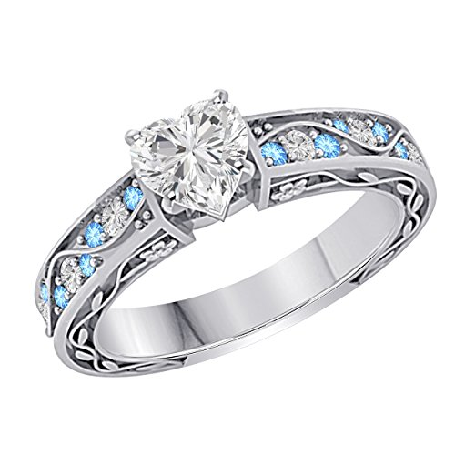 (Antique Vintage Style 1.00 Ct Heart Shape Cubic Zirconia & CZ Blue Topaz 925 Sterling Silver Plated Engagement Ring)