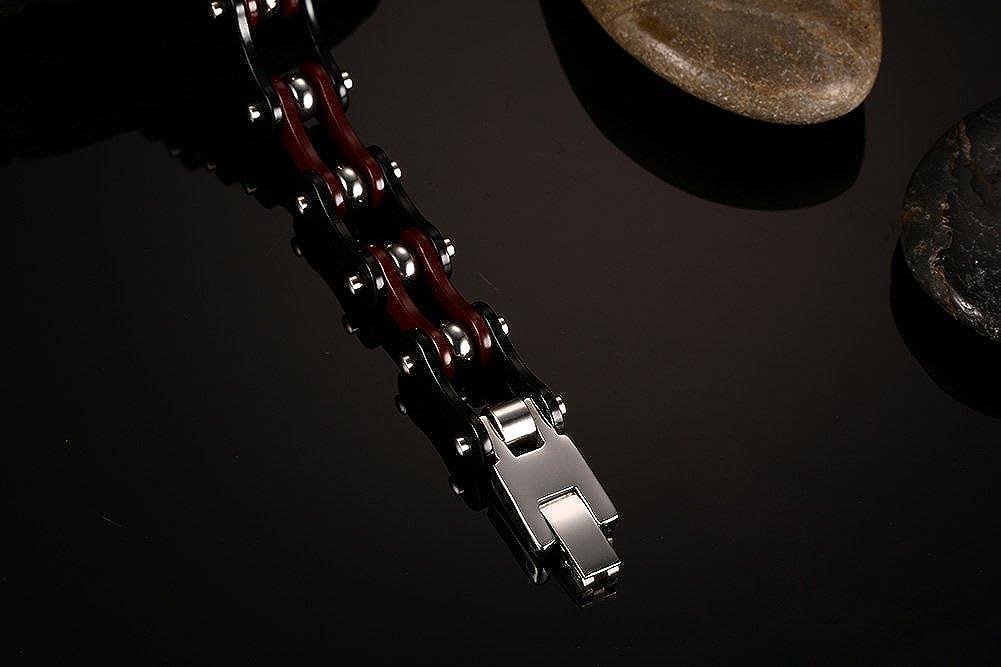 Joielavie Bracelet pour Homme en Acier Inoxydable Cha/îne de V/élo Moto Lien Motard Biker Cha/îne de Main Bijoux Cadeau