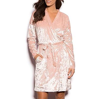 N-Dance Women's Velvet Bathrobe Cross Wrap Self Tie Short Spa Robe Blush Pink Chemise Sleepwear