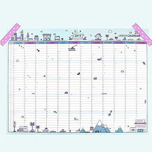 JESJELIU - Calendario de Pared de Papel de 365 días 2019, Ideal para Oficina, Escuela, planificador Diario, Azul