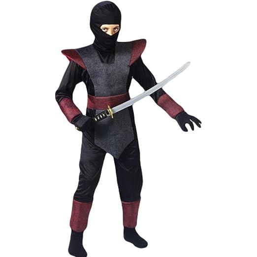 Amazon.com: Ninja Fighter Costume Boys Medium Burgandy: Clothing
