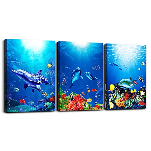 blue ocean fish 3 Pieces Framed Wall Art for Living Room Bathroom Wall Decoration Canvas Print Children