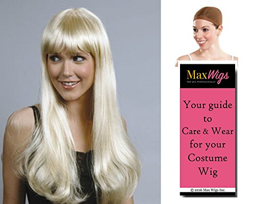 "Sharon 22"" Long color HUNTER - Enigma Wigs Pageboy with Bangs HW142 Bundle with Cap, MaxWigs Costume Wig Care Guide"