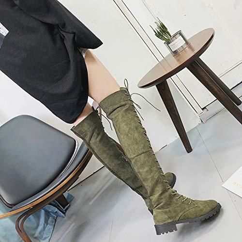 Casual Elegant Stiefel Boots High Toe Mode Fit Stiefel Rund Armeegrün Heels Overknee Damen Stiefel Slim Schnürer Sonnena Langschaftstiefel Schuhe Strecken Party 77WwStgCq