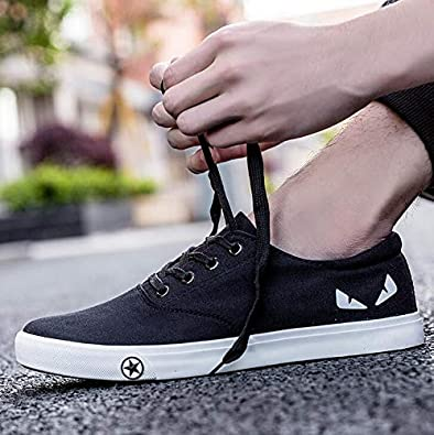 Amazon.com | Qiu ping Mens Casual Little Monster Trend Sports Shoes Canvas Shoes | Fashion Sneakers