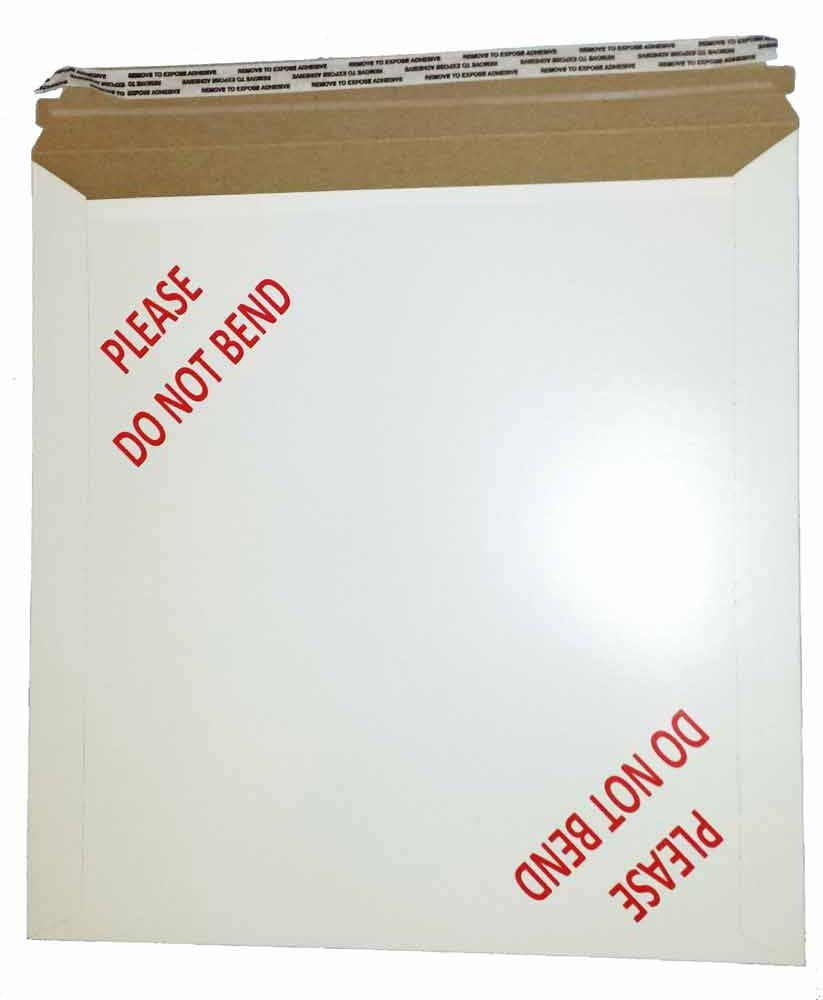 Rigid Self Seal Pre Printed ''Do Not Bend'' Fiberboard Photo/Document Mailers, 12.75 x 13.25 Inches, Box of 25