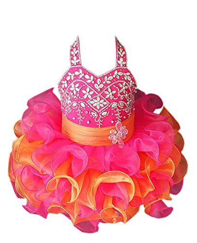 ChengCheng Little Baby Kids Pageant Party Cupcake Pageant Dress 6M Fuchsia ()