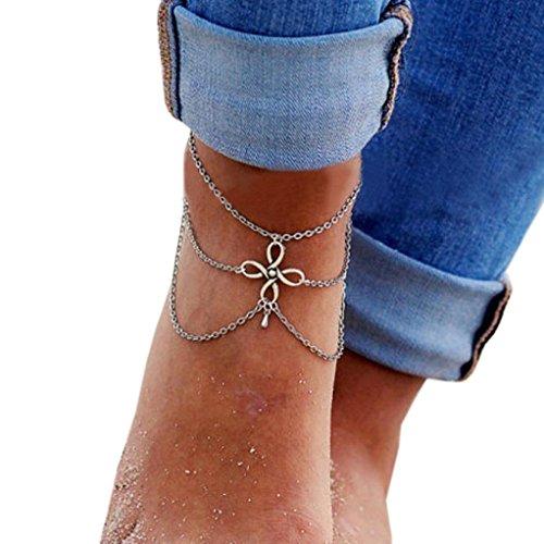Susenstone Women Beach Barefoot Sandal Foot Tassel Jewelry Anklet