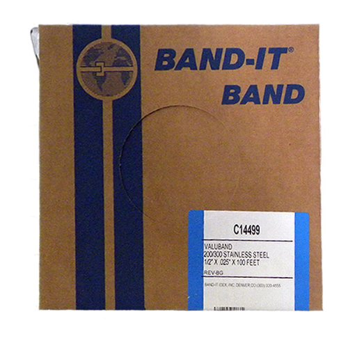 BAND-IT Valuband Band C14499, 200/300 Stainless Steel, 1/2'' wide x 0.025'' thick (100 Foot Roll)