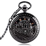 Unique Pocket Watch, Exquisite Skeleton Running Steam Train Pocket Watch for Men, Mechanical Hand Winding Pocket Watch Gift