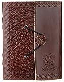 Carnet de notes de luxe indiary en cuir de buffle et papier puisé à la main - Stamped Blossoms