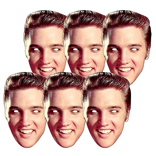 Star Cutouts SMP381 6 X Elvis Presley Party and Gift The King Masks, Multicolour, One -
