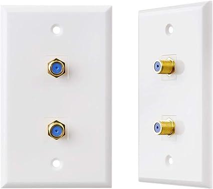 TENINYU - Juego de 2 Placas de Pared para Cable de TV, Conector F (Placa coaxial de Pared) en Color Blanco