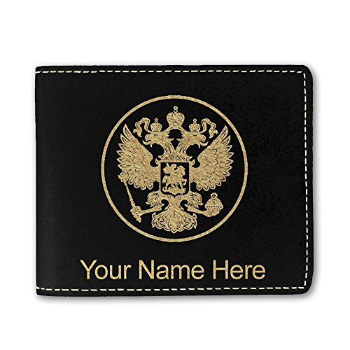 Faux Leather Wallet, Coat of Arms Russia, Personalized Engraving Included (Black) ()