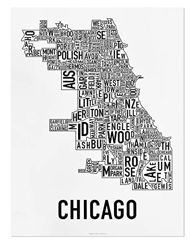 Chicago Neighborhoods Map Art Poster, Black & White, 18