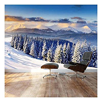 Snowy Mountain Silent Winter Scene - Landscape - Wall Mural, Removable Sticker, Home Decor - 100x144 inches