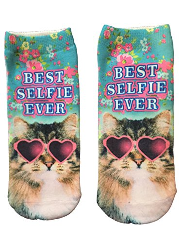 HARAJUKU Printed Socks Best Selfie Ever BLUE Socks Cat Wearing Heart Shaped - Sunglasses Size Plus For Best