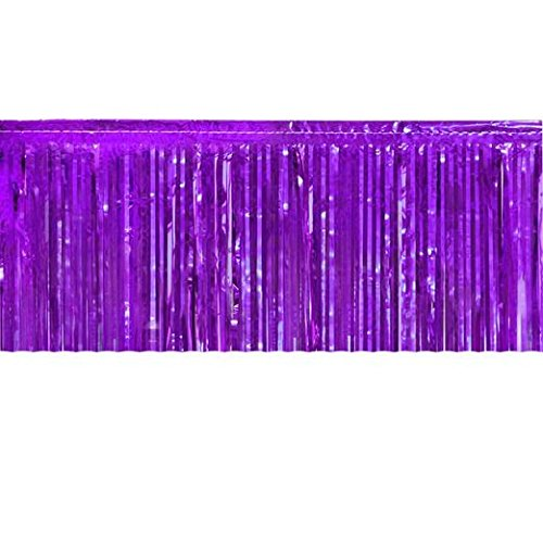 Purple Metallic Fringe Table Skirt