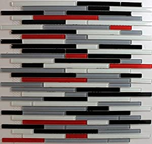 30 off red white black grey glass mosaic backsplash tile 1 sheet