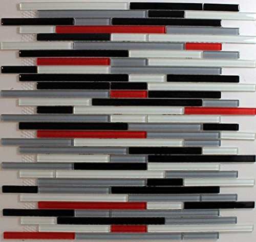 - Red white black grey glass mosaic backsplash tile (1, sheet) glass backsplash tiles for kitchen bathroom walls