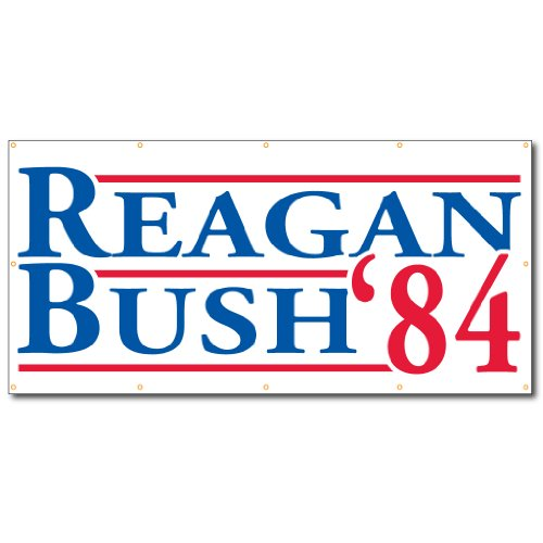 VictoryStore Banner: Reagan and Bush '84 Political 2'x4' Vinyl Banner]()
