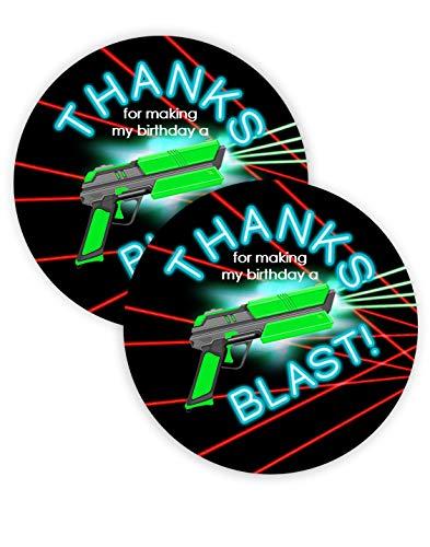 POP parties Laser Tag Brights Party Favor Stickers - 40 Favor Bag Stickers - Laser Tag Thank You Tag - Laser Tag Party Supplies - Laser Tag Party Decorations - -