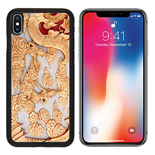 Asian Carving (MSD Premium Apple iPhone X Aluminum Backplate Bumper Snap Case Art of Wood Carving Carved wooden door in the temple A beautiful Asian sculptures IMAGE 28294174)