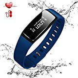 (US ONLY) Today 70% Off !! Fitness Tracker - Fitness Heart Rate Monitor Wristband - Watch Wearable Pedometer Smart BP For Kids Family Sports Life Bluetooth 4.0 Compatible With Android and IOS (Blue)