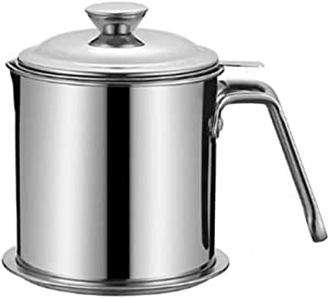Lnndong-1.3l Stainless Steel oil Pot oil Filter Water Storage Container is Equipped With Stainless Steel Cover, Mesh Screen and Base to Separate oil From Food or other Liquids in The Kitchen