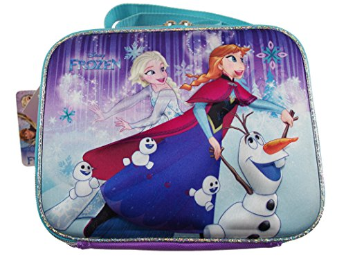 Disney Frozen Lunch Box Featuring ELSA, ANNA and OLAF with SNOW BABIES, 3D Lunch Box with Long Strap by RUZ