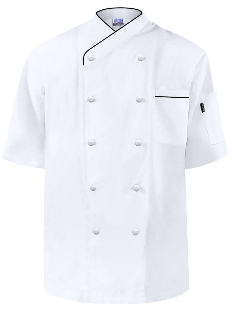 Newchef Fashion Frenchy Short Sleeves Chef Coat Black trim 3XL White by Newchef Fashion