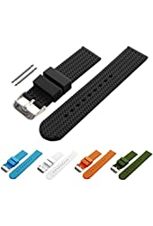 BARTON Watch Bands - Choice of Colors & Widths (18mm, 20mm, 22mm or 24mm) - Soft Silicone Rubber Straps