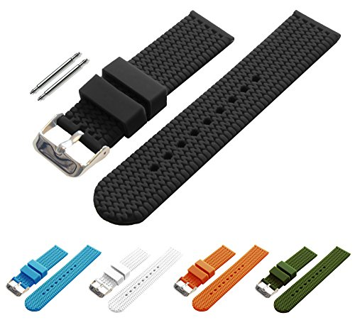 BARTON Watch Bands - Choice of Colors & Widths (18mm, 20mm, 22mm or 24mm) - Black 22mm - Soft Silicone rubber (Current Watch For Men)
