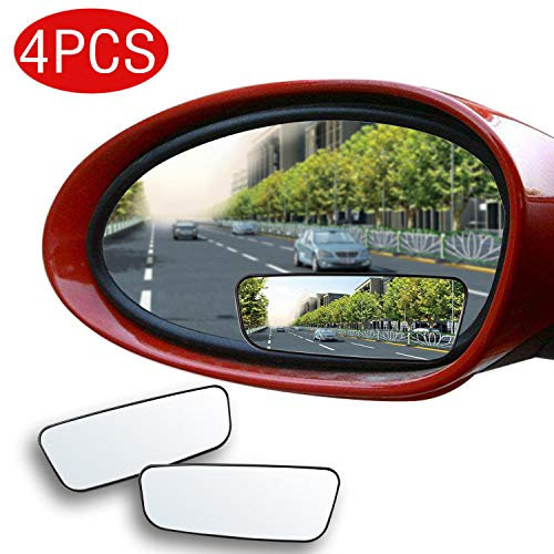 4 Pack Blind Spot Mirror, COURAGES Square No Blind Spot Mirror for All Universal Vehicles Car Side Convex Rear View Mirror Wide Angle Blind Spot Mirror Fit Stick-on Design