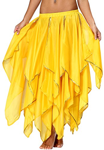 (Sequin Yellow Skirt Fairy Belly Dancing Costume for Women Ladies 2 4 6 8 10 12 14)